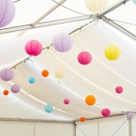 Lanterns hanging in Marquee